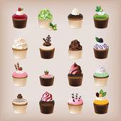 Fotografia set di 16 deliziosi cupcakes