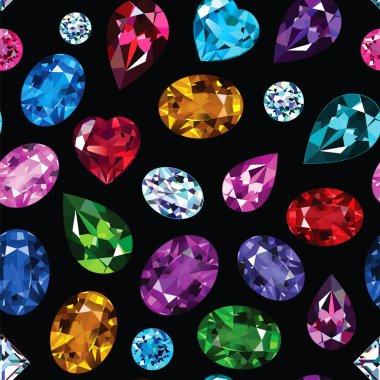 Pattern of colored gemstones