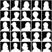 Avatare von Silhouetten mit unterschiedlichen Frisuren.