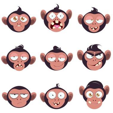 Set of smiles monkeys