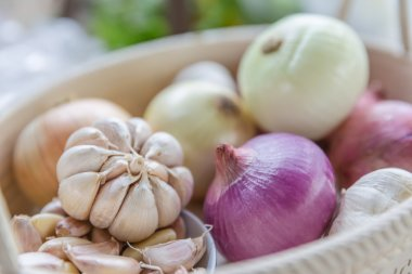 Onions and garlic in the basket