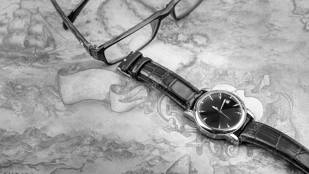 Watch on world map foto de stock dourleak 76688001 watch on world map watch on map background black and white foto de dourleak gumiabroncs Gallery