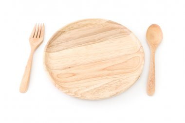 wooden plate and spoon, fork