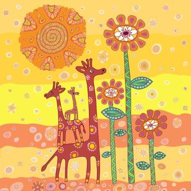 Illustration of family of giraffes