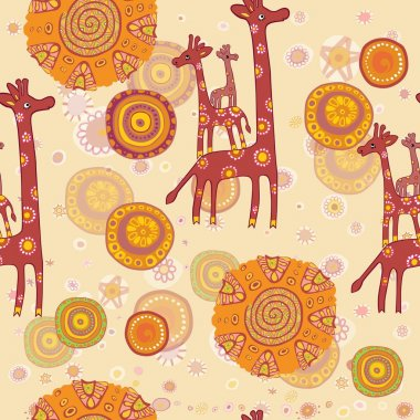 Seamless pattern with cute family of giraffes