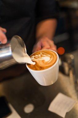 Latte art with milk