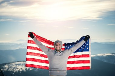 Top of the mountain with USA flag