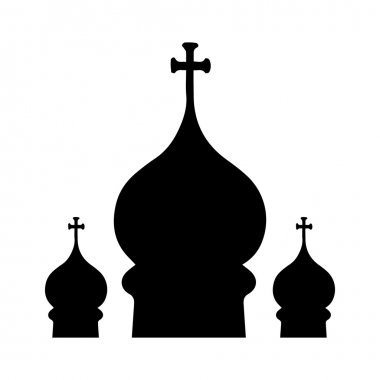 Silhouette of three domes of the Orthodox Church. On a white background.
