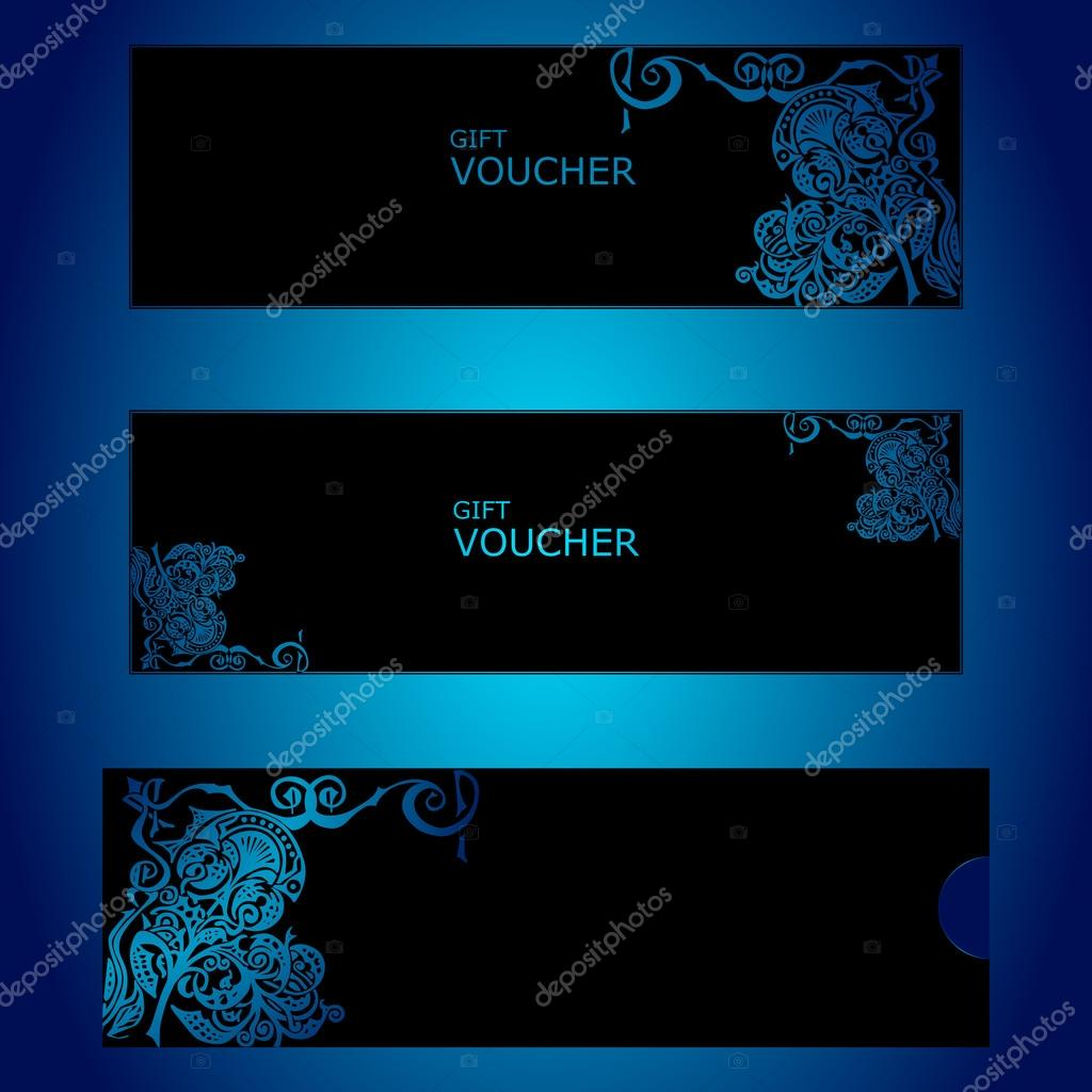 Template gift certificate black color with embossed ornament on a template gift certificate black color with embossed ornament on a blue background stock yadclub Gallery