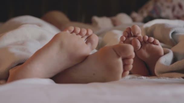 Drei Beinpaare der glückliche Familie im Bett unter der Decke - Vater, Mutter und baby
