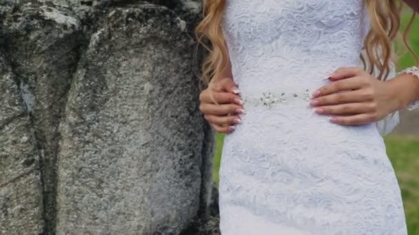 Decoration On The White Wedding Dress Woman Touching It