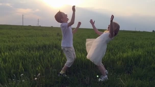 Two happy children playing on meadow, sunset, summertime. Slow motion