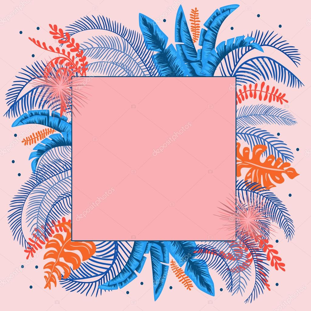 Rectangle jungle pink frame