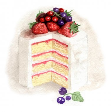 Watercolor white cake with fruits