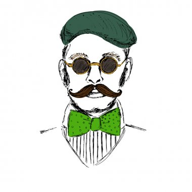 Hand drawn man in green cap and bowtie