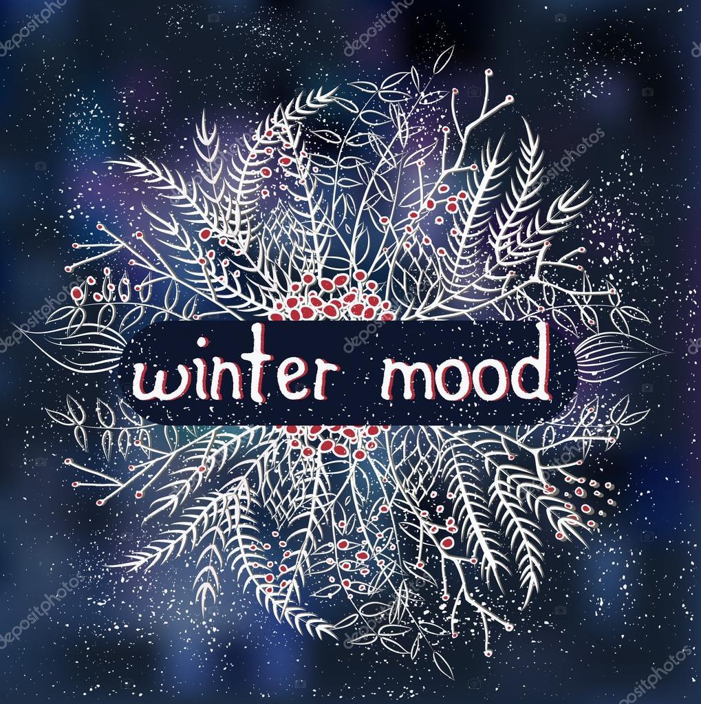 Dark blue doodle winter card