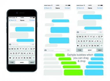 Smartphone chatting sms template bubbles