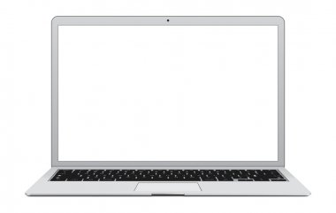 Laptop with blank screen isolated on white.