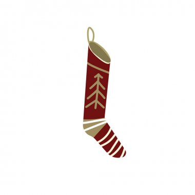 Knitted christmas stocking with red patterns on white background, vector illustration. icon