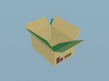 open cardboard box on white backgroaund 3d rendering.
