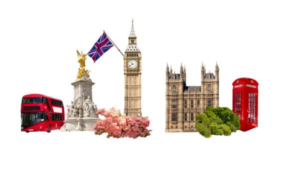 V Londýně. Turistické a obchodní koláž, londýnské slavné budovy proti Bílému pozadí