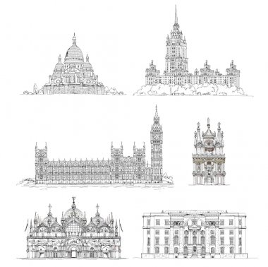Famous buildings, sketch collection. Paris Sacred Heart in Montmartre, Big Ben and houses of parliament, Greenwich, hotel Ukraine in Moscow, Venice court and etc
