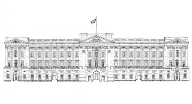 Sketch collection of famous buildings. London, Buckingham palace