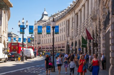 LONDON, UK - 22 JULY, 2014: Regent street named after Prince Regent, completed in 1825. Famous tourist destination and shopping point in London