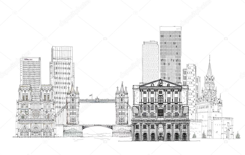 architectural drawings of famous buildings.  Drawings Famous Buildings Of The World Sketch On Canary Wharf Bank England  Tower Inside Architectural Drawings Of Buildings