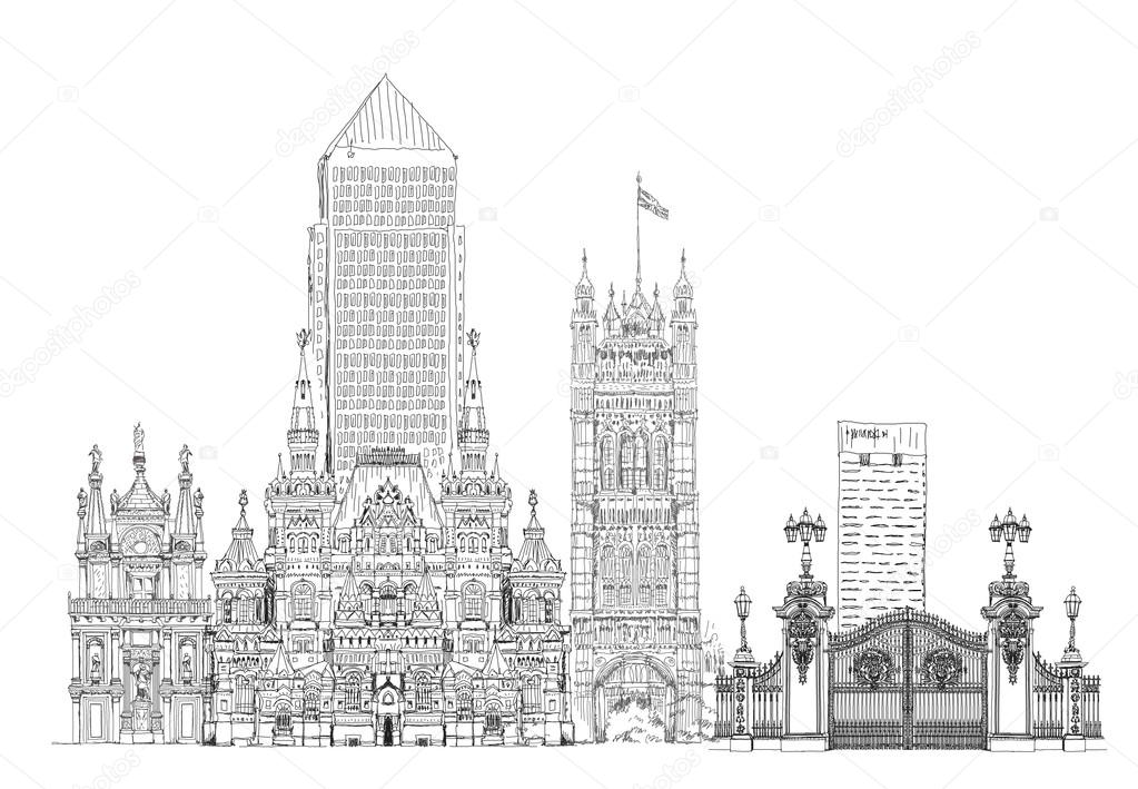 Famous buildings of the world sketch on canary wharf for Famous buildings of the world pictures