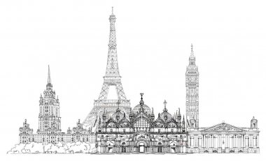 Sketch collection of famous buildings. Eiffel tower, St. Marco in Venice, big Ben in London, Stalin's building in Moscow etc.