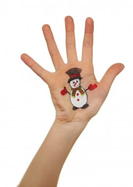 Children's hands raising up with painted Christmas symbols:  Snow man,