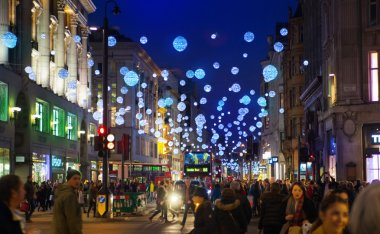 Black Friday weekend in London the first sale before Christmas. Oxford treet beautifully decorated with Christmas lights. Roads were open for pedestrians only