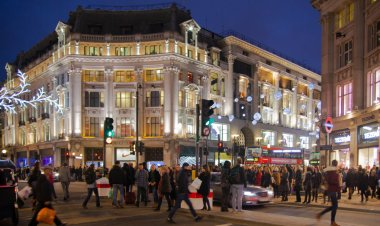 Sale in London, Oxford street beautifully decorated with Christmas lights.