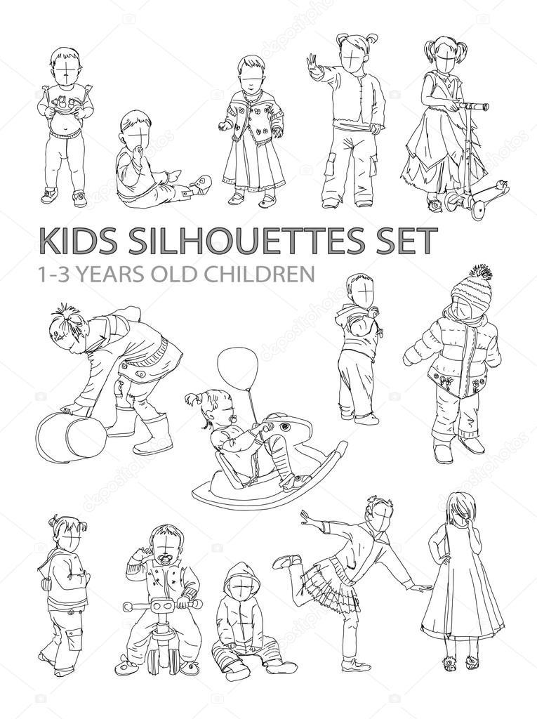 Kleine Kinder-Silhouetten, sketch-Sammlung — Stockfoto © irstone ...