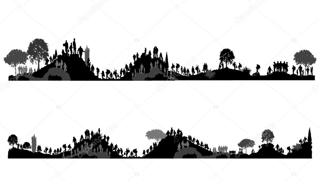 People walking on hills, mountains. Tourists on nature. Peoples silhouettes