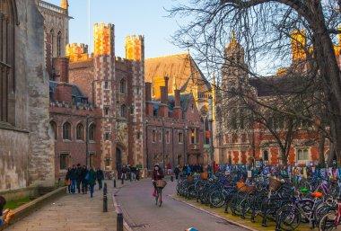 CAMBRIDGE, UK - JANUARY 18, 2015: Trinity street with college view