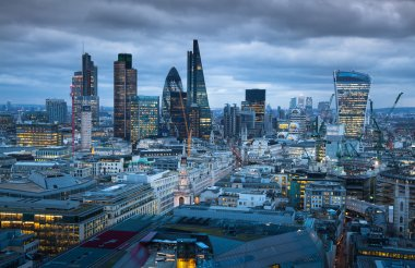 City of London, business and banking aria. London's panorama in sun set. View from the St. Paul cathedral