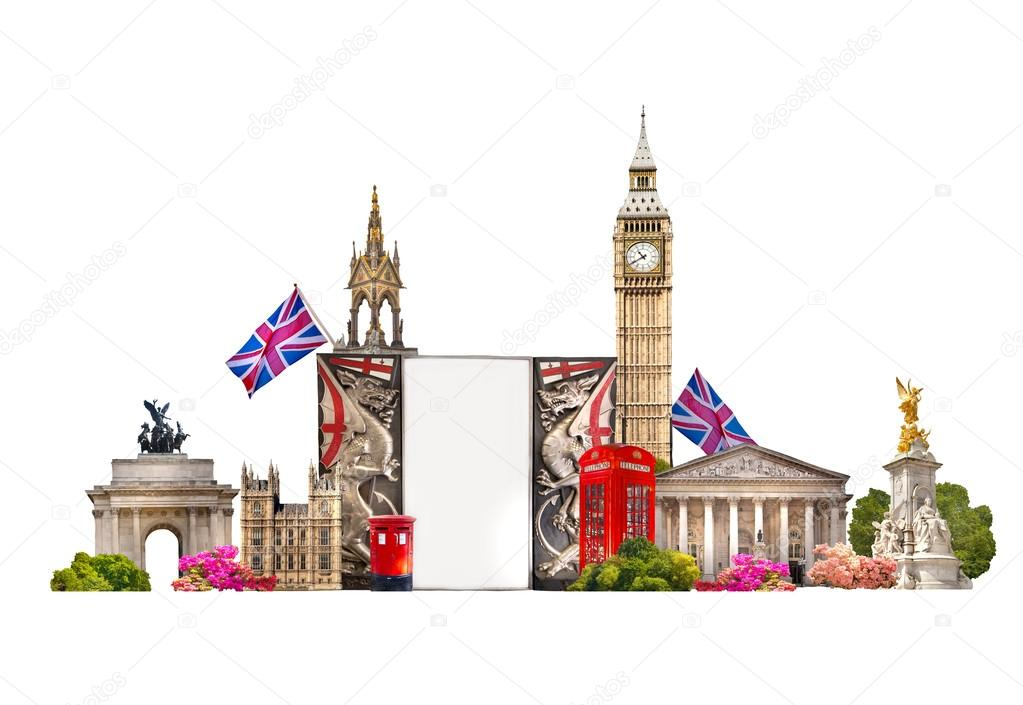 Tourist And Business Collage Londons Famous Buildings Against Of White Background Stock