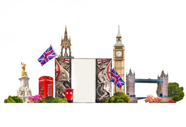 London. Famous buildings of London,  Travel and business background