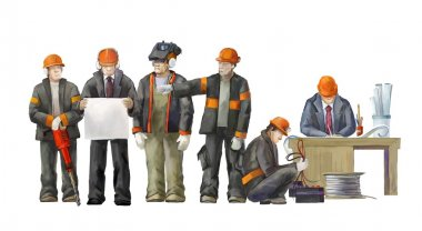 Deputy director, welder, electrician, project manager, architect.  Builders working on construction works illustration