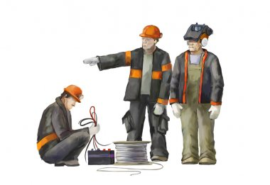 Welder, electrician and  project manager.  Builders working on construction works illustration