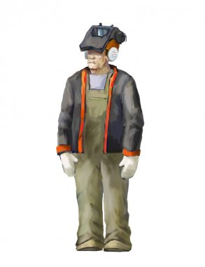 Welding worker illustration
