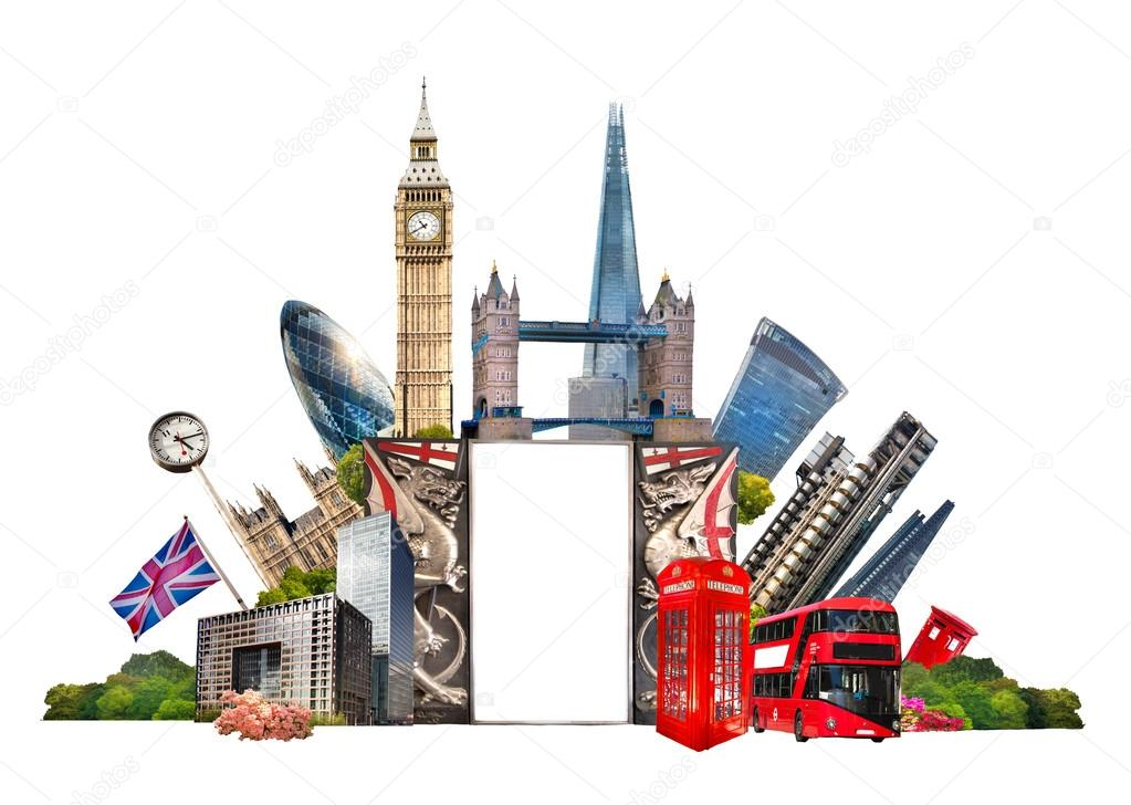 London Famous buildings of London Travel and business background