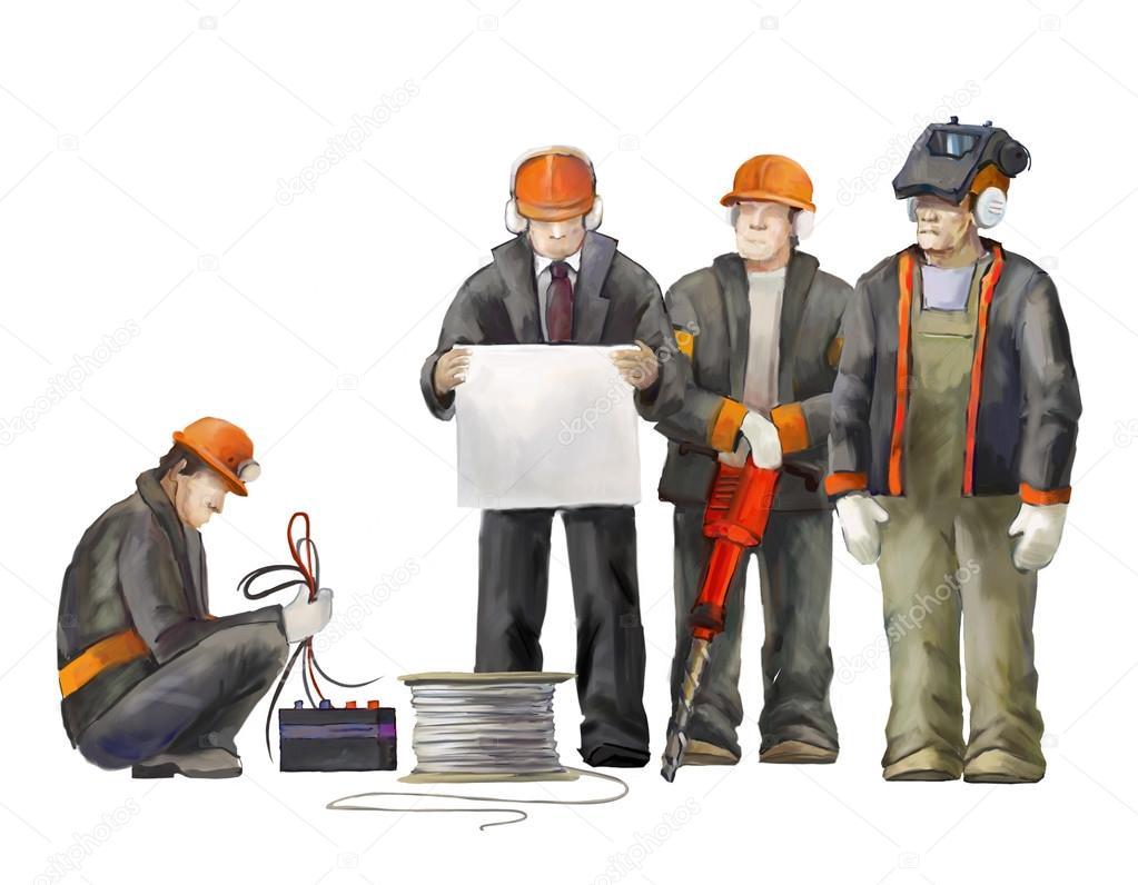 Soldador electricista trabajador de jack hammer adjunto for Oficina de proyectos de construccion