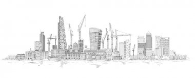 Modern London. City of London and Canary Wharf with crane and building sites of new developments