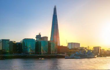 LONDON, UK - APRIL15, 2015: Shard of glass in sunset. Panoramic view of south bank river Thames walk.