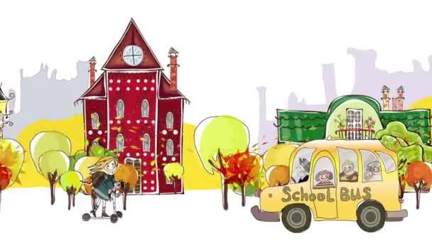 Zpátky do školy pozadí. Podzimní pohled na město s učenci a školních autobusech spěchal přes ulici