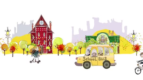 Back to school background. Autumn city view with scholars and school busses rushing through the street