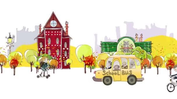 Zpátky do školy pozadí. Podzimní pohled na město s učenci a školních autobusů spěchal přes ulici